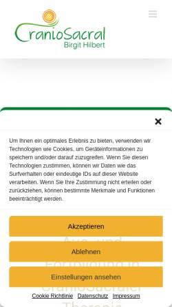 Vorschau der mobilen Webseite cranio-sacral.de, Birgit Hilbert - Praxis für Cranio-Sacrale Körper- und Energiearbeit.