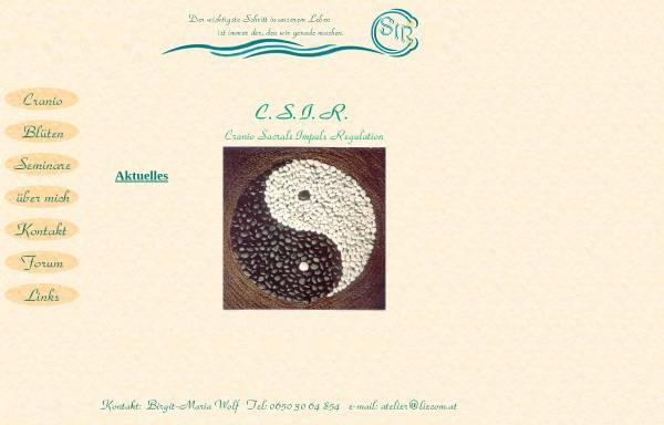 Vorschau von www.cranio.liecom.at, Cranio Sacrale Impuls Regulation und Blütenberatung