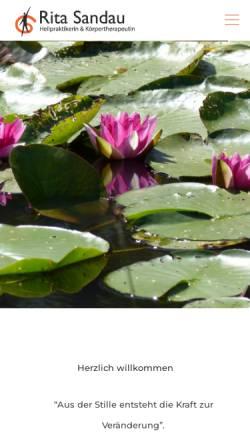 Vorschau der mobilen Webseite www.craniosacralberlin.de, Gesundheitswege-Berlin - Rita Sandau, Heilpraktikerin und Körpertherapeutin