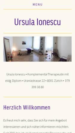 Vorschau der mobilen Webseite www.ursula-ionescu.ch, Ursula Ionescu Noll