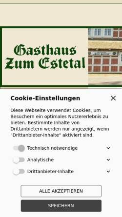 Vorschau der mobilen Webseite www.zum-estetal.de, Gasthof Zum Estetal
