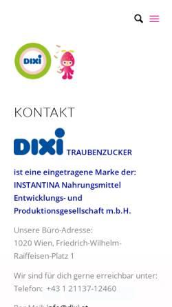 Vorschau der mobilen Webseite www.dixi.at, DIXI Traubenzucker