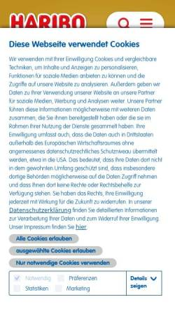 Vorschau der mobilen Webseite www.haribo.de, Haribo