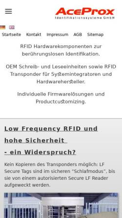 Vorschau der mobilen Webseite www.aceprox.de, Aceprox Identifikations GmbH