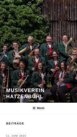 Vorschau der mobilen Webseite www.mv-hatzenbuehl.de, Musikverein Hatzenbühl e.V.
