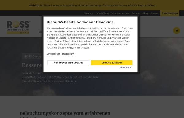 Vorschau von www.ross-licht.de, Ross Gesundes Licht, Manfred Ross