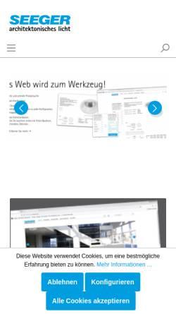 Vorschau der mobilen Webseite www.seeger-licht.de, Seeger technische Leuchten, Inh. Thomas Seeger