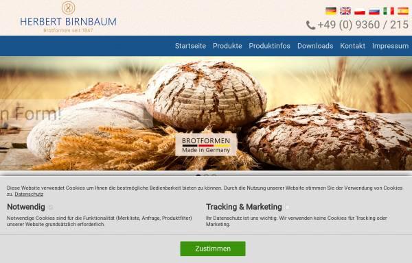 Vorschau von www.herbert-birnbaum.de, Herbert Birnbaum Backschüsselfabrik e.K. - Inh. Maria Birnbaum-Kaiser