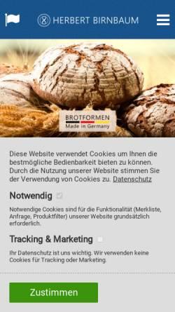 Vorschau der mobilen Webseite www.herbert-birnbaum.de, Herbert Birnbaum Backschüsselfabrik e.K. - Inh. Maria Birnbaum-Kaiser