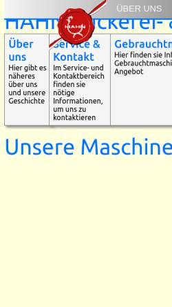 Vorschau der mobilen Webseite www.hahn-backen.at, Ing. Walter Hahn Bäckerei- & Konditoreitechnik GmbH & Co KG