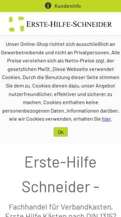 Vorschau der mobilen Webseite www.erste-hilfe-onlineshop24.de, Handelsvertretung Carsten Schneider