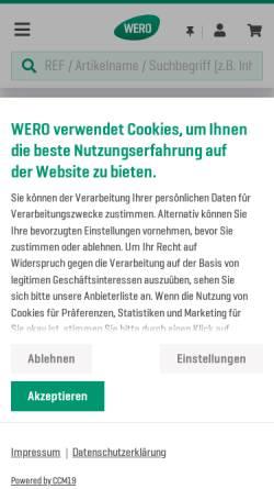 Vorschau der mobilen Webseite www.wero.de, WERO GmbH & Co. KG