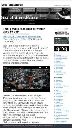 Vorschau der mobilen Webseite www.simulationsraum.de, Simulationsraum: Weblog für Medien/Film/Kultur