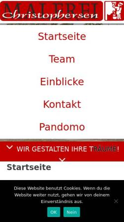 Vorschau der mobilen Webseite www.malerei-christophersen.de, Malerei Christophersen