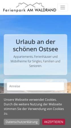 Vorschau der mobilen Webseite www.ferienpark-ostsee.de, Ferienpark am Waldrand