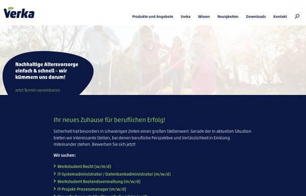 Vorschau von www.verka.de, VERKA Kirchliche Pensionskasse VVaG