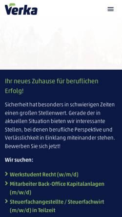 Vorschau der mobilen Webseite www.verka.de, VERKA Kirchliche Pensionskasse VVaG