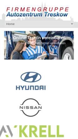 Vorschau der mobilen Webseite www.autozentrum-treskow.de, Autozentrum Treskow GmbH