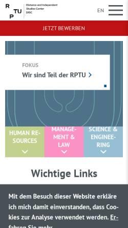 Vorschau der mobilen Webseite www.zfuw.uni-kl.de, Universität Kaiserslautern - Zentrum für Fernstudien und Universitäre Weiterbildung (ZFUW)