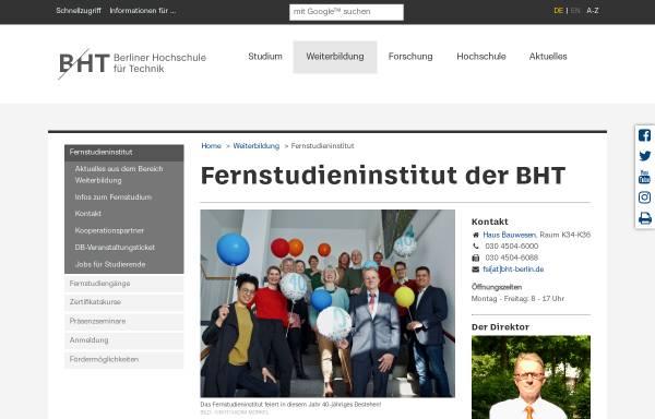 Vorschau von www.beuth-hochschule.de, Fernstudieninstitut (FSI) der TFH Berlin