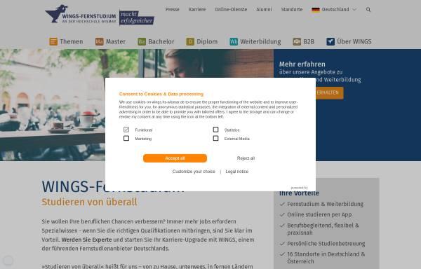 Vorschau von www.wings.hs-wismar.de, Fernstudium - und Weiterbildungszentrum Wismar (WINGS GmbH)