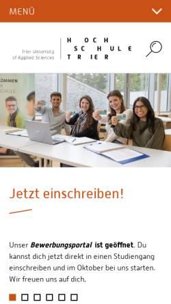 Vorschau der mobilen Webseite www.fh-trier.de, FH Trier