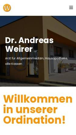 Vorschau der mobilen Webseite www.dr-weirer.at, Weirer, Dr. med. Andreas