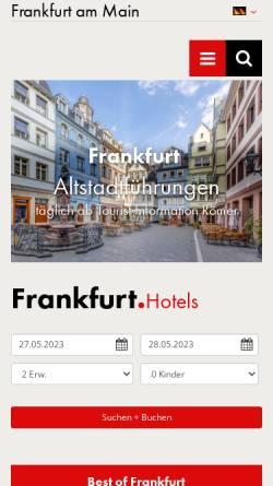 Vorschau der mobilen Webseite www.frankfurt-tourismus.de, Tourismus und Congress GmbH