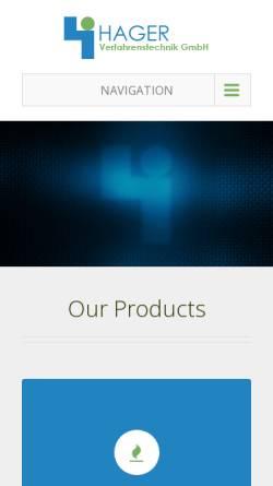 Vorschau der mobilen Webseite www.hager-engineering.de, Dipl. Ing. H. Hager