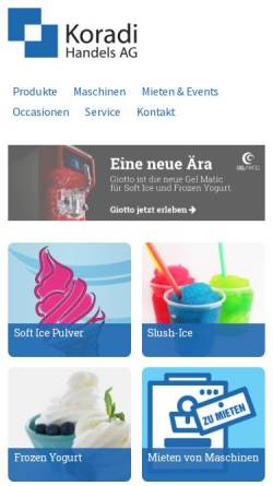 Vorschau der mobilen Webseite www.kohag.ch, Koradi Handels AG