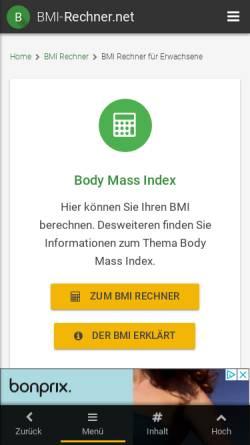 Vorschau der mobilen Webseite www.bmi-rechner.net, BMI-Rechner.net