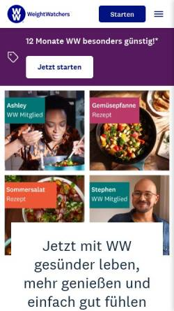 Vorschau der mobilen Webseite www.weightwatchers.com, Weight Watchers Deutschland