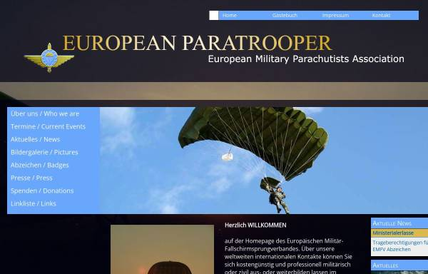 Vorschau von www.european-paratrooper.de, Europäischer Militär Fallschirmsprungverband e.V.