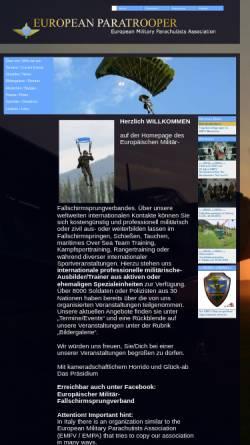 Vorschau der mobilen Webseite www.european-paratrooper.de, Europäischer Militär Fallschirmsprungverband e.V.