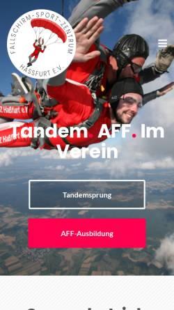 Vorschau der mobilen Webseite www.fsz-hassfurt.de, Fallschirm-Sport-Zentrum Hassfurt e.V.