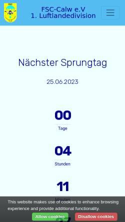 Vorschau der mobilen Webseite fsc-calw.de, Fallschirmsportspringerclub 1.Luftlandedivision CALW e.V.