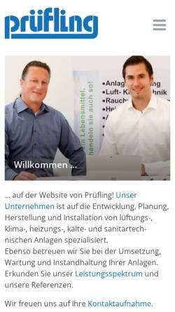 Vorschau der mobilen Webseite www.pruefling.net, Prüfling Lufttechnik GmbH