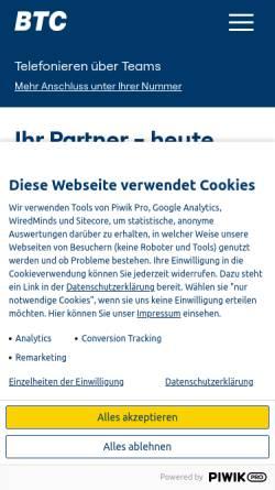 Vorschau der mobilen Webseite www.btc-ag.com, BTC Business Technology Consulting AG