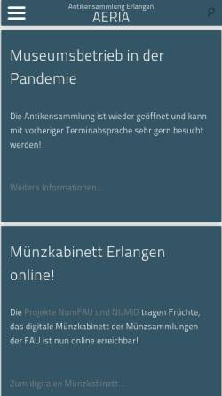 Vorschau der mobilen Webseite www.aeria.phil.uni-erlangen.de, Antikensammlung Erlangen Internet Archive (AERIA)