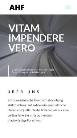 Vorschau der mobilen Webseite www.ahf-muenchen.de, Arbeitsgemeinschaft außeruniversitärer historischer Forschungseinrichtungen in der Bundesrepublik Deutschland e.V. (AHF)
