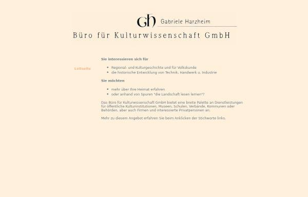 Vorschau von www.gabrieleharzheim.de, Büro für Kulturwissenschaftliche Dienste [Harzheim, Gabriele]