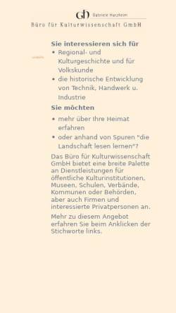 Vorschau der mobilen Webseite www.gabrieleharzheim.de, Büro für Kulturwissenschaftliche Dienste [Harzheim, Gabriele]