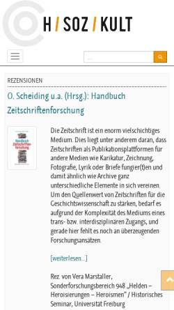 Vorschau der mobilen Webseite hsozkult.geschichte.hu-berlin.de, Digitale Fachzeitschrift und Fachmailingliste