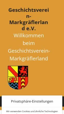 Vorschau der mobilen Webseite www.geschichtsverein-markgraeflerland.de, Geschichtsverein Markgräflerland