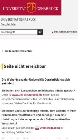 Vorschau der mobilen Webseite www.geschichte.uni-osnabrueck.de, Gesellschaft zur Förderung der vor- und frühgeschichtlichen Ausgrabungen im Osnabrücker Land e.V.