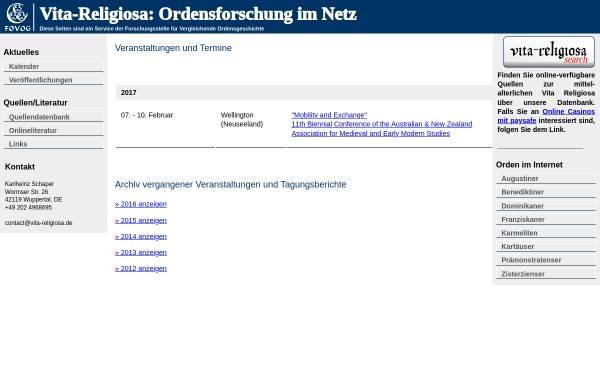 Vorschau von vita-religiosa.de, Rete Vitae Religiosae Mediaevalis Studia Conectens (RE.VI.RE.S.)