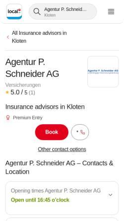 Vorschau der mobilen Webseite www.agentur-schneider.ch, Agentur P. Schneider AG
