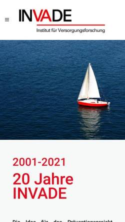 Vorschau der mobilen Webseite www.invade.de, Interventionsprojekt zerebrovaskuläre Erkrankungen und Demenz