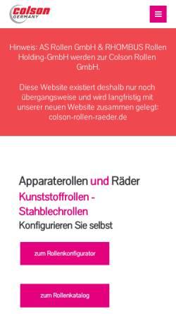 Vorschau der mobilen Webseite as-rollen.de, AS Rollen GmbH