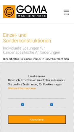 Vorschau der mobilen Webseite www.goma-gmbh.de, GOMA GmbH